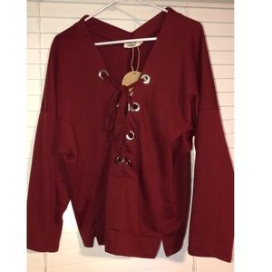 Fashion Nova Burgundy Lace Up Sweatshirt Small